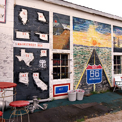 Mural on Wall of Route 66 Mall in Chelsea, Oklahoma (eoscatchlight) Tags: oklahoma route66 mural chelsea antiques roadsideamerica whimsical antiquestore yesteryear mainstreetusa themotherroad ofdaysgoneby