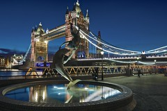 Tower Bridge and Dolphin_(Explored highest @8) (xris74) Tags: uk bridge england london night towerbridge xris74