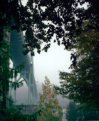 Quiet mornings, foggy bridges (Zeb Andrews) Tags: bridge film oregon analog portland still gothic stjohns pacificnorthwest pdx suspensionbridge stjohnsbridge pentax67 cathedralpark bluemooncamera historicbridges whatidoonmywalktowork