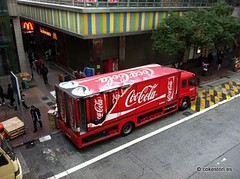 Swire Coca-Cola delivery truck outside Wanchai Station, Hong Kong (可樂春秋) Tags: red truck cola coke hong kong delivery cans coca wanchai bottler swire