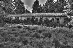 Fields BW HDR 2012-09-22 (iMarkus1) Tags: old light urban abandoned broken wet graffiti junk exposure decay apocalypse ruin hdr