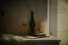 The Morning After (Tinina67) Tags: morning party texture window glass work book bottle cookie candle stilleben clothes fabric tina after danach stillife drapes morgen tinina67