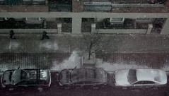 birds eye snowfall. (moloko-vell0cet) Tags: people toronto ontario canada eye cars window car birds photoshop canon rebel view floor u xs snowfall sixth 6th ocad mariacasa