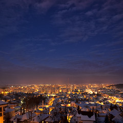 Blue hour (George Nutulescu) Tags: life old city longexposure travel blue light sky building lamp night buildings square landscape town nikon cloudy romania older fortress brasov ourtime objectiveart nikond40 flickraward flickrestrellas spiritofphotography oracope outstandingromanianphotographers