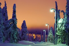 Orange Skies (timo_w2s) Tags: winter snow finland lapland kuusamo sodium lightpollution ruka