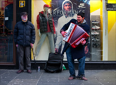 Performance (CSHamilton) Tags: street 35mm colours glasgow candid performance accordion busker citycentre shopfront argylestreet streetmusician candidportrait accordionist characterstudy glasgowstreetscene nikond90 glasgowstreetphotography glasgowcharacter