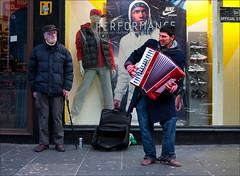 Performance (CSHamilton) Tags: street 35mm colours glasgow candid performance accordion busker citycentre shopfront argylestreet streetmusician candidportrait accordionist characterstudy glasgowstreetscene nikond90 glasgowstreetphotography glasgowcharacter