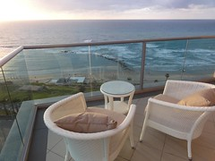View from balcony, Maison Lisbona, Bat Yam(7) (dlisbona) Tags: sunset sea vacation holiday vacances soleil israel telaviv sonnenuntergang view apartment flat rental location appartement luxury seaview  coucherdusoleil batyam louer apartement sejour