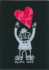 Mucho Love ('Lil Sonny Sky) Tags: screenprint card valentines valentinescard lisastubbs