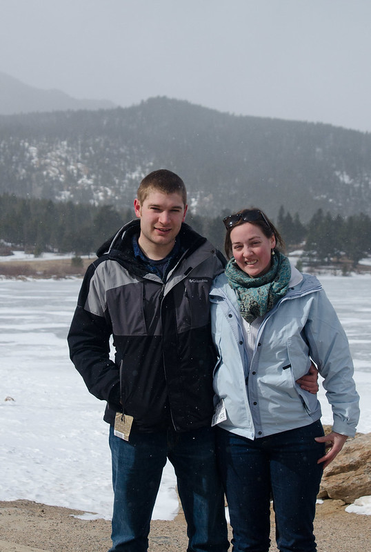 Here we are in front of a small lake. Long's Peak is behind us, but it was starting to snow and cloud over.