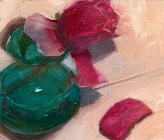 Stretch Harder - SOLD (dewartist) Tags: art glass painting turquoise oil oilonboard carolmarinetechnique