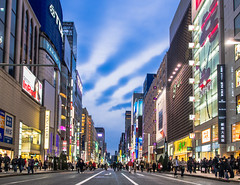 Clouds of ginza (twinklyblue) Tags: blue japan shopping ginza cityscape district hour