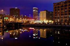 Night near Milwaukee Public Market (johndecember) Tags: bridge usa fall wisconsin river downtown gallery december album milwaukee hdr 2012 thirdward mke milwaukeeriver photomatixpro photoscape stpaulavenuebridge