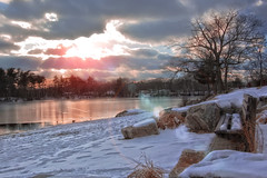 at the park in Quincy, MA. (Diana_Khalil) Tags: park winter lake snow water boston landscape quincy blinkagain bestofblinkwinners
