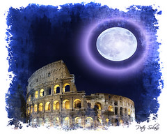 Eclipse Over The Roman Colosseum (Peter Solano. Pursuing a dream!) Tags: blue moon white yellow eclipse ancient roman violet colosseum explore