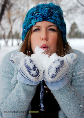 Blowing Snow (Maheux Studios Photography) Tags: winter portrait white snow cold girl portraits season blowing blow maternity gloves snowing february mittens