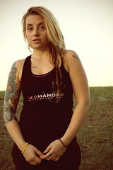 RedHanded (JephaMooi) Tags: sunset girl smile tattoo lady female training ink tampa fun outside happy 50mm clothing model bright serious florida martial arts angles line blonde fitness gym dreads rasta dreadlock redhanded kickass physical inked personaltrainer mma kravmaga legit tatted