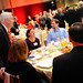 Chancellor Woodson greets a table at the Watauga Medal dinner last evening.