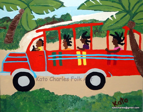 """Wooden Bus to Town"", Acrylic on Canvas, 8"" x 10"" by Kato Charles"