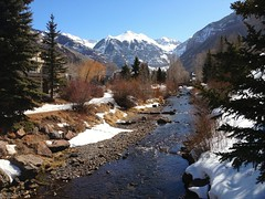 St Miguel river, Telluride, looking east (Miche & Jon Rousell) Tags: blue trees usa sun snow pine rockies colorado stream skiing telluride iphone iphonography iphone4s