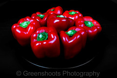 Voluptuous Red Peppers (Explored) (Keith Gooderham @ Greenshoots Photography) Tags: red food black dark pepper photography photographer bell sweet vegetable shaddow highlights full shiney ripe voluptuous caspicum copyrightgreenshootsphotography kg121130019aweb1
