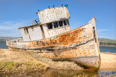 Point Reyes beached (stephencurtin) Tags: california usa grass bay boat fishing sand beached pointreyes inverness tomales thechallengefactory