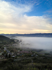 Fog rolls into Lynnmere (Night Owl City) Tags: california usa fog sunrise hills venturacounty thousandoaks conejovalley arroyoconejo lynnmeretrail lynnmere