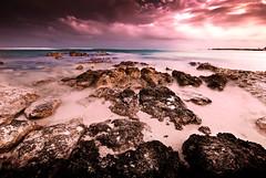 Rocks. (Folk Photography) Tags: ocean sunset sea motion beach nature del landscape mexico sand rocks long exposure scenic carribean playa cancun carmen