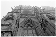 towering (jj birder) Tags: york blackandwhite bw film fog 35mm yorkshire contax minster aria