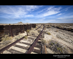 Eagle Mountain Railroad (esslingerphoto.com) Tags: california railroad blue sea usa fish black clouds canon photography exposure track shot desert decay abandon single salton eaglemountain esslinger eaglemountainrailroad esslingerphotocom