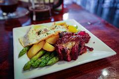 Hanger Steak, FIngerling Potatoes, Asparagus, Hollandaise, Fried Egg - Tin202 (sheryip) Tags: hanger steak fried egg hollandaise tin202 tin 202 morgantown food foodporn