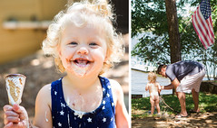 365-67 September 5 (eblinn) Tags: diptych icecream summer baby curls mess hosebath lake fatherdaughter family favorite