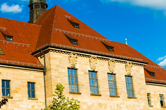 Nuremberg Courthouse (Thad Zajdowicz) Tags: nuremberg courthouse nurembergtrials historic history building structure architecture windows roof sky color red blue zajdowicz germany deutschland canon eos 7d dslr digital outdoor outside availablelight lightroom stone walls detail europe travel