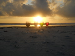 Experimenting (Makeshift_Tripods) Tags: beach water glass volusia county ocean sea colors dye coloring art experiment morning sun rise sunrise waves sand clouds