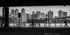 City Runners (Ash and Debris) Tags: bnw quay bridge street people running city cityscape streetlife bw urban citylife run nyc life newyork usa monochrome blackandwhite