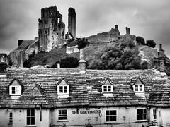 Corfe Castle, Dorset (Jack the dog1) Tags: corfe castle dorset ancient ruins countryside england medieval old centuries pub oldest black white rural