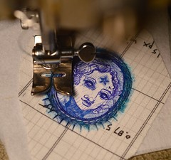 Diana (Danny W. Mansmith) Tags: dannymansmith workinprogress sewing drawing ballpointpen blue smallart