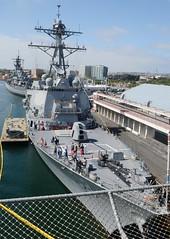 Arleigh Burke Class Destroyer the  USS Wayne Meyer, DDG-108 - 2016 Los Angeles Fleet Week (hsckcwong) Tags: usswaynemeyer ddg108 ussiowa bb61 losangelesharbor 2016losangelesfleetweek arleighburkeclassdestroyer