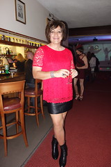 Night Out 16/09/16 (Victoria HS) Tags: red hot sexy tranny leather skirt ankle boots long legs tv girl cd transvestite transgender crossdresser uk leatherskirt ankleboots leatherjacket