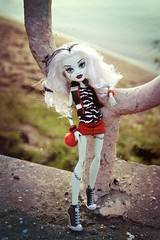 I will Follow you Everywhere (EliMalone) Tags: frankie stein doll mattel monster high frankenstein ghoul blonde purrsephone freak du chic magician scar electric basic circus nature bridge river fashion pack