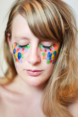 Day 202, Year 9. (evilibby) Tags: 365 3659 365days 365days9 libby portrait eyesclosed paint facepaint mess messy fingerprint fingerprints fingerpainting blonde messyhair makeup bright colourful