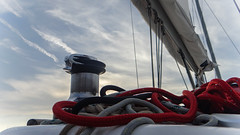 High Five (babs van beieren) Tags: clouds sailing sail boat ocean water ropes red