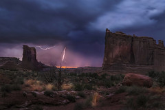 Stormy Twilight (doraartem) Tags: storm desert utah moab nature landscape lightning