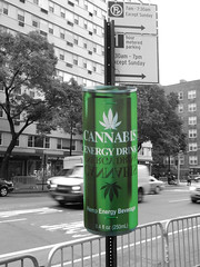 Cannabis Energy Drink (TheMachineStops) Tags: 2014 outdoor green cannabis 420 nyc newyorkcity westvillage 6thavenue sixthavenue signs can selectivecolor hemp manhattan