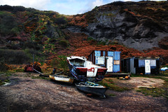 Fishermans Haven.. (*Debi) Tags: beach boats cliffs portmulgrave fishermanshuts fishermansboats colourefexpro rustycabins