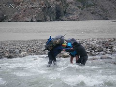 Crossing big river during Ice cap traverse