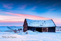 Sunset Barn (johnfuj) Tags: winter sunset snow canada ecology weather seasons sundown alberta environment carstairs wintertime environmentalism ecosystem