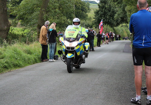 Police.  Stop.  Cycle Race.  The Tour at Alstonefield.