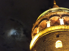 Galata Tower in night with Moon (CyberMacs) Tags: moon building tower architecture turkey star fort trkiye ruin places istanbul trkorszg bastion istambul byzantine galata constantinople kule beyolu galatatower galatakulesi towerofchrist christeaturris constantinoble galatasurlar othernames galatawalls