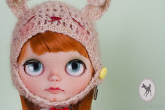 ~Mandarina for Zuri~ (-Poison Girl-) Tags: red orange bunny girl hat closeup mouth hair pumpkin nose ginger eyes doll long dolls factory stock helmet fake fringe carving redhead sleepy carrot blythe freckles poison bangs custom mandarina gaze zuri takara poisongirl peca freckle correction scalp pecas blythes philtrum blythecustom boggled